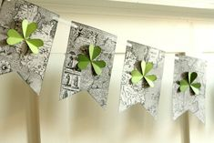 St. Patricks Day Banner with map background printables included