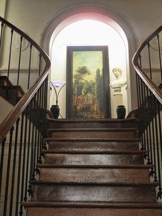 Le Château de la Marjolaine. Via quiddity 2 Love the simple iron and aged wood on these stairs.
