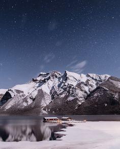 moonlit lake minnewanka. banff. alberta. - Processed with VSCO with m5 preset