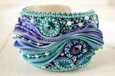 """Bracelet """"Magic"""", bracelet with shibori ribbon, bead embroidered bracelet, bead embroidery, beaded bracelet"""