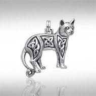 Magickal Cat Silver Pendant TPD333