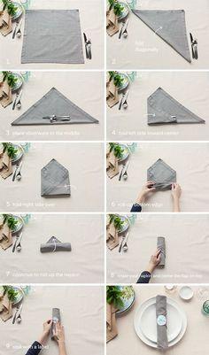 Table Setting Tips 3 Basic Napkin Folds & Triple Pocket Napkin Fold Tutorial | Pinterest | Napkins Dinners ...