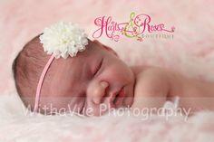 Newborn Headband..Baby Girl Headbands..White by HartsandRoses