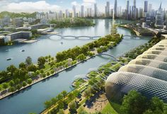 Like many second-tier Chinese cities, historic Changsha is growing at a staggering rate – in 10 years – leading to gridlocked roads, polluted air, surplus housing and overstretched services. Future Buildings, Modern Buildings, Green Architecture, Futuristic Architecture, Minimalist Architecture, Chinese Architecture, Futuristic City, Futuristic Design, Fantasy Landscape