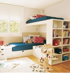 Love white IKEA bunk beds--- Kids Crammed In? 10 Great Ideas for Your Kids' Shared Bedroom; I love all the storage incorporated into these. I'm wondering how one gets onto the top bunk though. Home Bedroom, Girls Bedroom, Bedroom Decor, Bedroom Ideas, Childs Bedroom, Lego Bedroom, Bedroom Designs, Kids Bunk Beds, Loft Beds