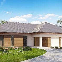 Projekt Z190. Parterowy dom z garażem 2 stanowisk. oraz dużym salonem z otwartą kuchnią.