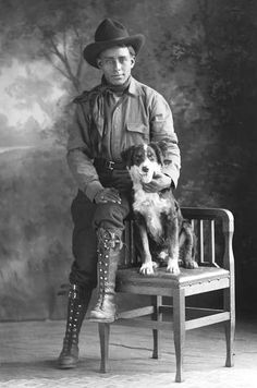 Man with his dog, Texas, early 1900s