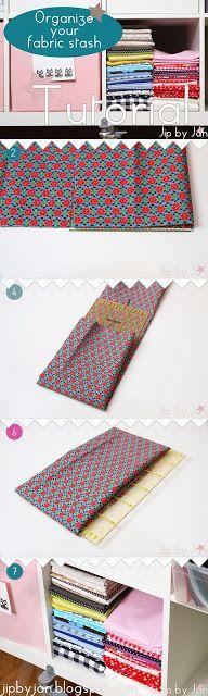 Tutorial Organize your fabric stash Jip by Jan Organiseer je werkplek en stoffen Jip by Jan  http://jipbyjan.blogspot.nl/2013/08/tutorial-how-to-organize-your-fabric.html