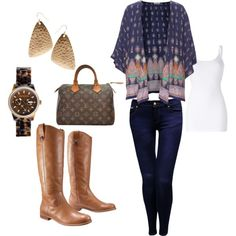 A simple fall outfit. Although I wouldn't wear the watch or the earrings though.