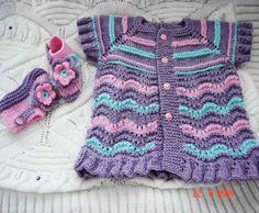 Patterns Of Knitting Lace: Purple Baby Vest Baby Knitting Patterns, Baby Sweater Knitting Pattern, Knitted Baby Cardigan, Cardigan Pattern, Knitting For Kids, Lace Knitting, Baby Patterns, Crochet Baby, Knit Crochet