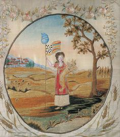 Liberty as personified in needlework by Lucina Hudson in 1808. (American Folk Art Museum)