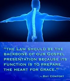 """The Law should be the backbone of our Gospel presentation because its function is to prepare the heart for grace."" ~ Ray Comfort"