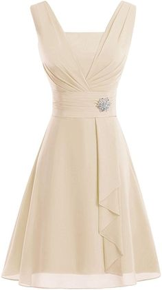 Bess Bridal Women's V Neck Knee-Length Chiffon Mother of The Bride Dresses Champagne Pretty Dresses, Beautiful Dresses, Frock For Women, Latest African Fashion Dresses, Mothers Dresses, Mother Of The Bride, Evening Dresses, Party Dress, Bridesmaid Dresses