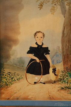 1830 ca child in black dress with wheel / girl/