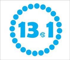 13.1 Half Marathon Decal With Monogram Sticker by MyMonogramHeaven, $7.45