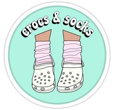 """White Crocs and Socks"" Stickers by abbyconnellyy Homemade Stickers, Diy Stickers, Laptop Stickers, Cool Crocs, Vsco, Tumblr Stickers, Aesthetic Stickers, Transparent Stickers, Sticker Design"