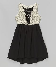 Love this Ivory & Black Lace Dress on #zulily! #zulilyfinds