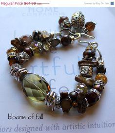 chunky charm bracelet, artisan bracelet, multi strand bracelet, bold bracelet, citrine bracelet....In Bloom.