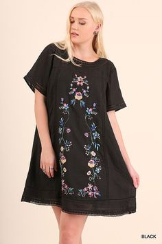 Lindsey Floral Embroidery Dress Plus : Black – GOZON Boutique