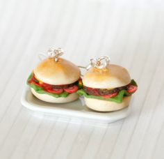 Polymer clay burgers earrings by Zoozim on Etsy, $17.00