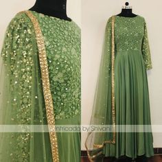 Stunning olive green floor length anarkali dress with hand embroidery work. For enquiries or to order email at shivani Whatsapp at 91852 Anarkali Gown, Saree Dress, Long Anarkali, Sharara, Indian Wedding Outfits, Indian Outfits, Indian Designer Outfits, Designer Dresses, Pakistani Dresses