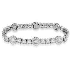 17.20 Ct Fashionable Diamond Tennis Bracelet 18k White Gold: Jewelry