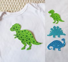 SHIPS FREE, Dinosaur appliqués, set of 3, Iron On Appliques for baby shower activity or gift + donation to charity!