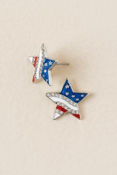 American Flag Star Stud Earring