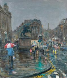 Born, bred and based in Edinburgh, the city features prominently in Henry Kondracki's work, often depicted in dark and wintry nights. Glasgow, Edinburgh, Building Painting, Drawing Sketches, Drawings, City Art, Old Pictures, Over The Years, Scotland