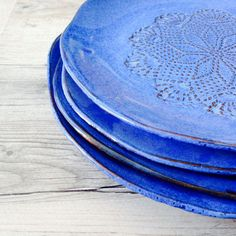 Ceramic dinner plates  blue handmade by BlueDoorCeramics on Etsy