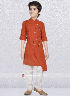 Rock any festive function by wearing this Rust color Linen cotton fabric Kurta enhanced with fancy button. Also comes with Beige color Bottom. Baby Boy Outfits, Kids Outfits, Kids Kurta, Boys Kurta Design, Mens Ethnic Wear, Polo Shirt Design, Kurta Patterns, Mens Kurta Designs, Boys Clothes Style