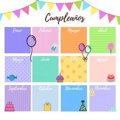 Calendario de cumpleaños Birthday Calendar, Birthday Board, Birthday Charts, Church Bulletin Boards, Diy Calendar, Teacher Hacks, Planner Organization, Life Planner, Journal Inspiration