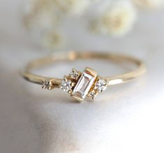 V-MONI k Gold Zircon Fashion Ring Plated Champagne Gold Zircon Trend Ring 10
