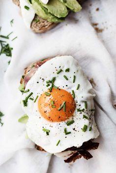 ... rye bread toast w/ avocado, spanisH Ham and grilled egg ...
