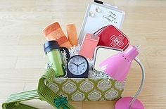 GREAT H.S. Graduation Gift Idea (for student going to college!):  Basket filled with Flash Light, small First Aid Kit, mini Umbrella, alarm clock, small box of clothes Detergent, wash cloth/hand towel, shower gel, bath/shower accessories, Coat Hangers, write-on/wipe-off board for dorm door, Microwavable popcorn or mac, crackers/cookies, etc.   WHAT A GREAT IDEA!   eHow