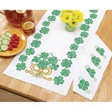 St Patrick's Day Table Runner & Napkins, stamped for cross-stitch - Herrschners
