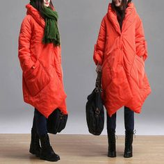 Long bright orange irregular casual winter jacket / by dreamyil, $262.00