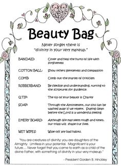 Beauty Bags. Good thought for Relief Society