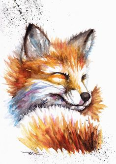 Original Watercolour Snoozing Fox Print or Greeting Card by