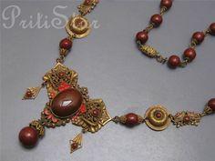 Vintage Art deco Max Neiger Czech Love BIRD Enamel Glass Pendant Necklace