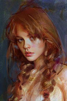 Wangjie Li {figurative art beautiful female redhead grunge young woman face portrait cropped digital painting detail}