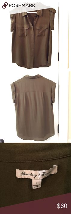 Madewell Broadway & Broome Silk Blouse Worn once and dry cleaned, great condition. Gorgeous olive green color. Madewell Tops Blouses