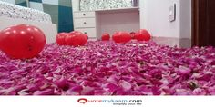 Best Romantic Room Decoration ideas for an unforgettable evening. Surprise your partner with our exciting romantic room decor & set up just for you two. Romantic Room Decoration, Romantic Bedroom Decor, Balloon Decorations, Rose Petals, Balloons, Just For You, Ideas, Globes, Rose Flowers