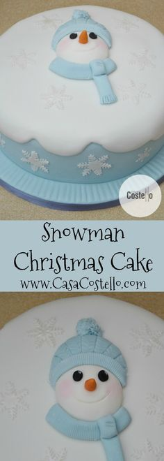 Snowman Easy Christmas Cake - Pastel blue fruit Christmas Cake with edible snowflakes and a fondant snowman on top Christmas Themed Cake, Christmas Cupcakes Decoration, Christmas Cake Pops, Christmas Snowman, Christmas Baking, Christmas Recipes, Traditional Christmas Food, School Cake, Delicious Cake Recipes