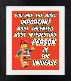 You Are the Most Important Most Talented Most Interesting Person in the Universe Print // Lego Movie Print // Lego Wall Art // Boys Wall Art Lego Wall Art, Boy Wall Art, Lego Classroom Theme, Lego Room Decor, Lego Bathroom, Lego Party Decorations, Movie Bedroom, Toy Rooms, Lego Birthday Party
