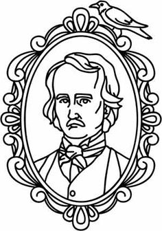 Edgar Allan Poe stars in an appropriately dark and ornate cameo. Downloads as a PDF. Use pattern transfer paper to trace design for hand-stitching.