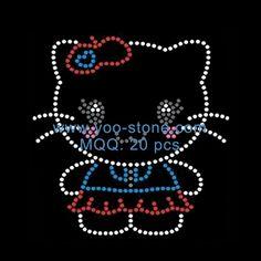 Hot Sale Kitty Rhinestone Transfer Designs For T-shirt