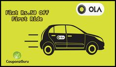 Now experience visiting around places in a car without having one with Ola. Save money on these cabs with the use of coupon codes and promotional deals listed by CouponzGuru.