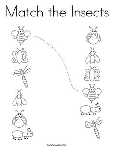 Match the Insects Coloring Page - Twisty Noodle Bug Activities, Preschool Learning Activities, Preschool Worksheets, Alphabet Worksheets, Teaching Resources, Numbers Preschool, Preschool Songs, Preschool Crafts, Insects For Kids