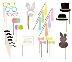 Easter Party Printable Photo Booth Props - Mustaches, Glasses, Ties, Bow ties, Hats, Eggs, Bunny Ears and Nose, Chocolate - INSTANT DOWNLOAD
